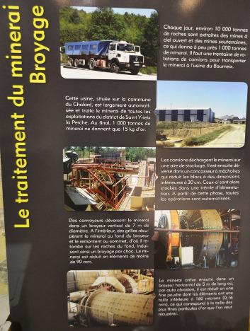 Exemple de panneau expliquant l'une des étapes du traitement du minerai par la Société des Mines du Bourneix