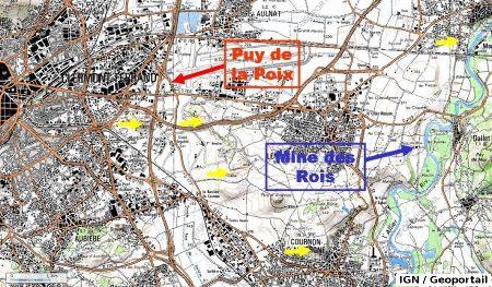 Localisation de la Mine des Rois de Dallet, à l'Est de Clermont-Ferrand