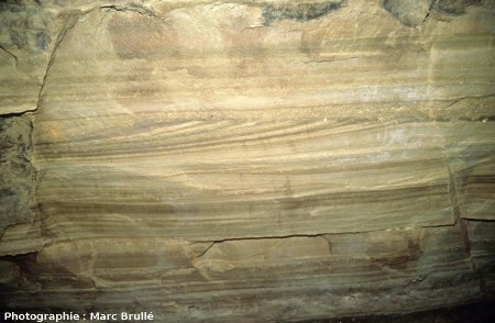 Stratifications obliques dans des sables bioclastiques, Mine des Rois, Dallet