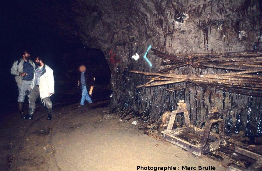 Écoulements d'hydrocarbures le long d'une paroi de la Mine des Rois, Dallet