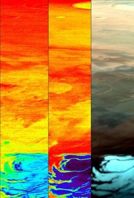 Photographies d'une même zone de Mars prises à différentes longueurs d'ondes