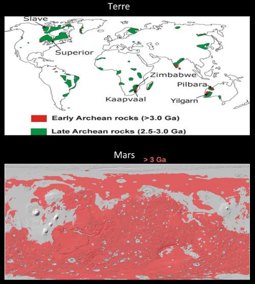 Comparaison des surfaces de terrains anciens exposés sur Terre et sur Mars