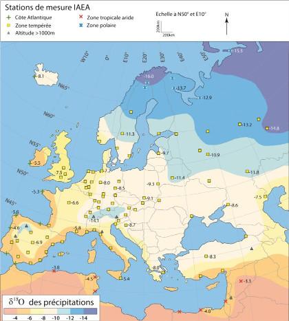 Distribution du δ18O dans les eaux de pluie en Europe