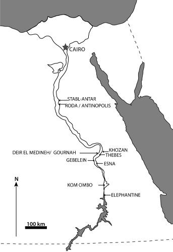 Localisation des sites égyptiens d'où proviennent les momies étudiées
