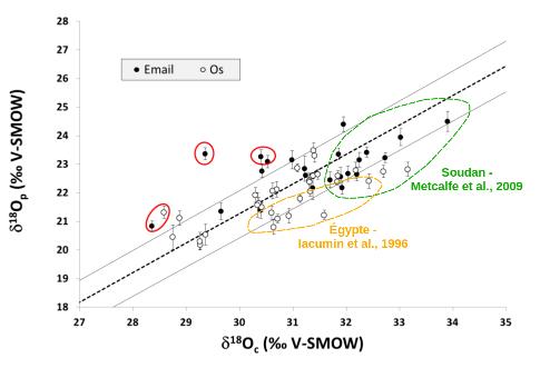 Couples de rapports isotopiques de l'oxygène (c: carbonate, p: phosphate) dans l'émail et l'os de momies égyptiennes
