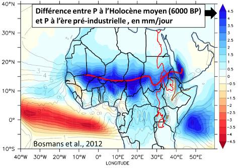 Différence, d'après une simulation numérique, entre les précipitations journalières à l'Holocène moyen en Afrique et les précipitations journalières pré-industrielles