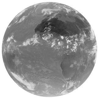 Image Infra-rouge (IR) thermique de la Terre en juillet 1998 (1 juillet, 15h00)