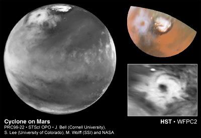 Cyclone polaire sur Mars