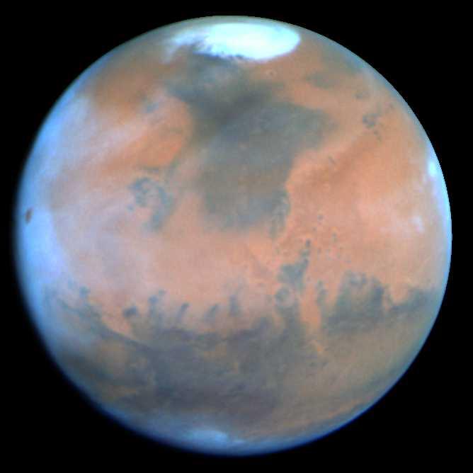 Photographie de Mars au printemps, prise par Hubble