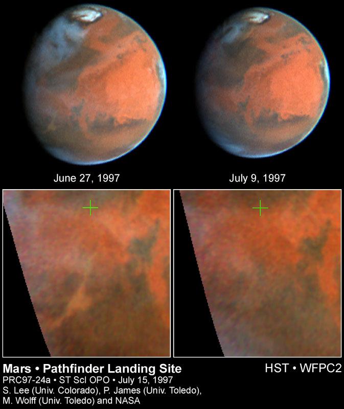 Photographies de tempêtes de poussières sur Mars