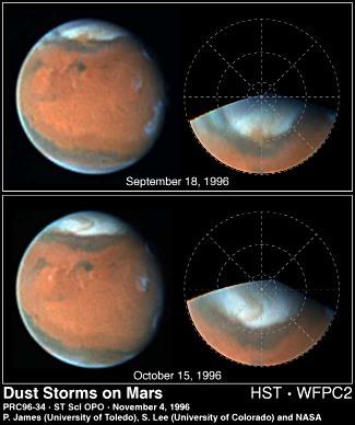 Photographies de tempêtes de poussières au printemps, pôle Nord martien