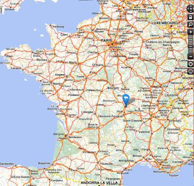 Localisation de Paléopolis au centre de la France, près de l'autoroute A71 (Paris - Languedoc)