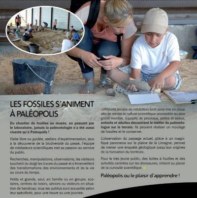 Extrait du dossier de presse de Paléopolis présentant l'espace consacré aux fouilles et aux manipulations