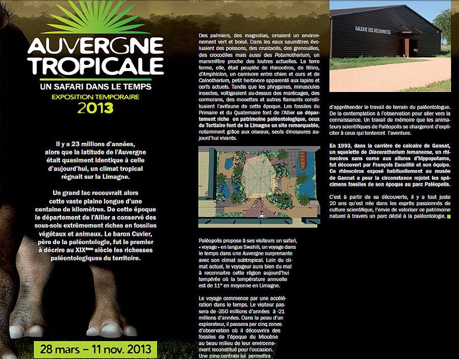 Extrait du dossier de presse de Paléopolis présentant l'exposition temporaire 2013 consacré à «l'Auvergne tropicale»