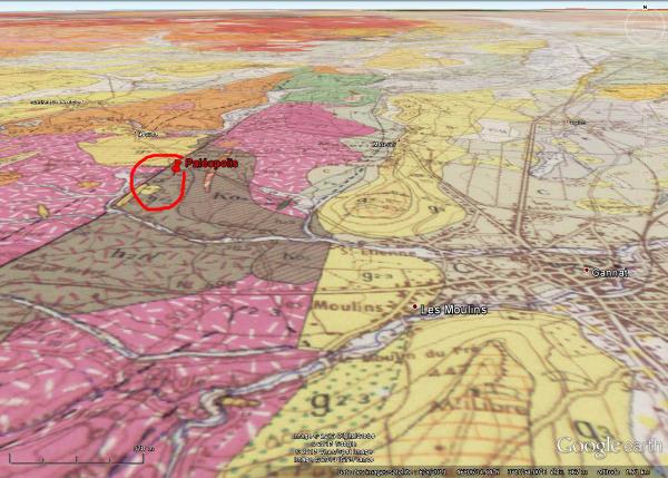 Extrait de la carte géologique au 1/50.000 montrant la situation géologiquement exceptionnelle du parc Paléopolis