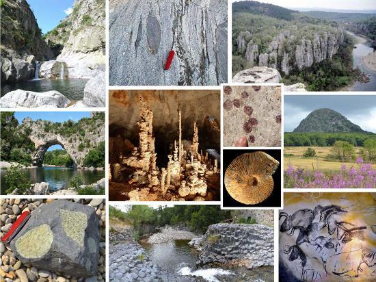 Carte postale touristiquo-géologique montrant quelques-unes des bonnes raisons d'aller passer des vacances en Ardèche