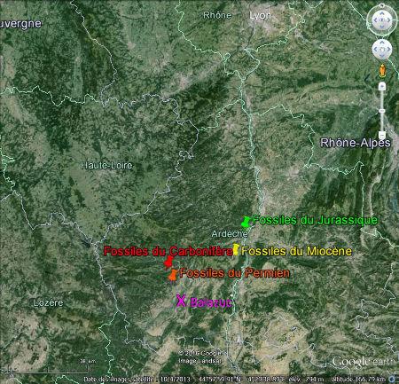 Le département de l'Ardèche et les quatre principaux sites fossilifères d'où sont extraits les principaux échantillons du Muséum de l'Ardèche (Balazuc)