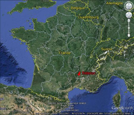 Localisation du village de Balazuc et de son Muséum de l'Ardèche