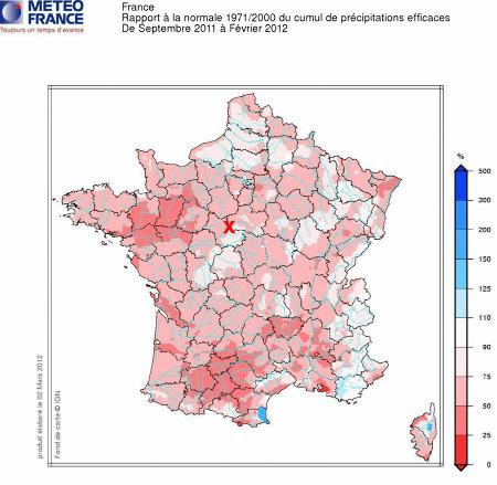 Déficit des cumuls de précipitations efficaces en France métropolitaine pendant la période septembre 2011 / février 2012