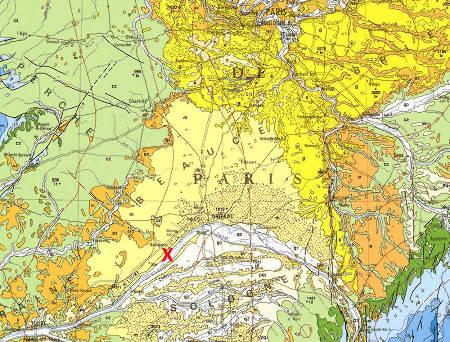 Extrait de la carte géologique de la France au 1/1000000 montrant (entres autres) la localisation des affleurements de calcaire de Beauce (jaune clair, m)