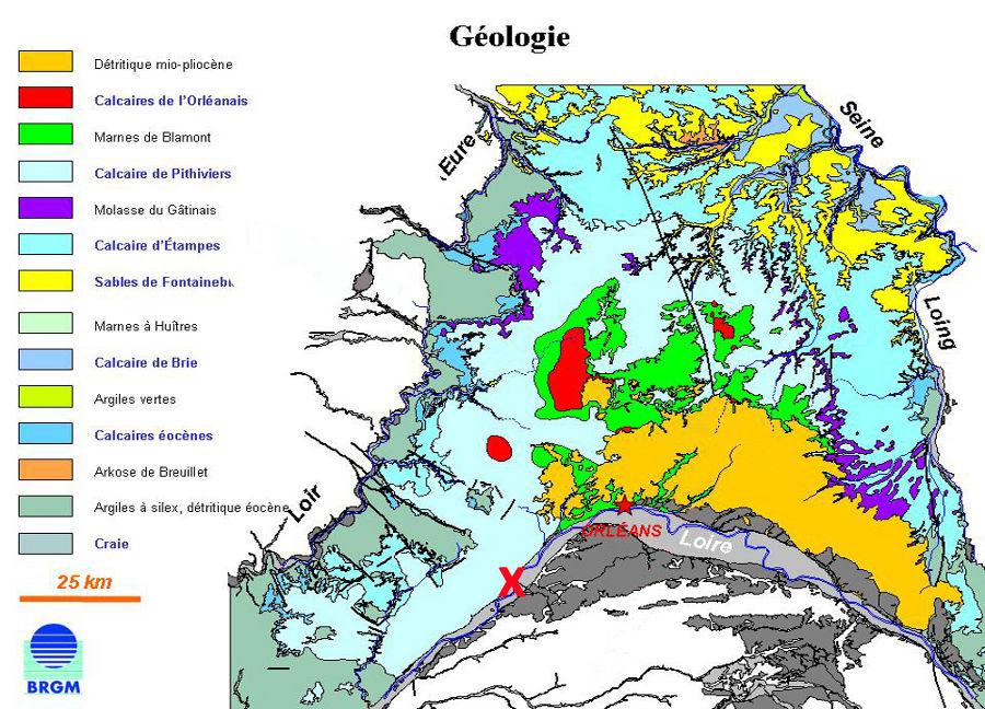Carte géologique détaillée de la région de la nappe de Beauce