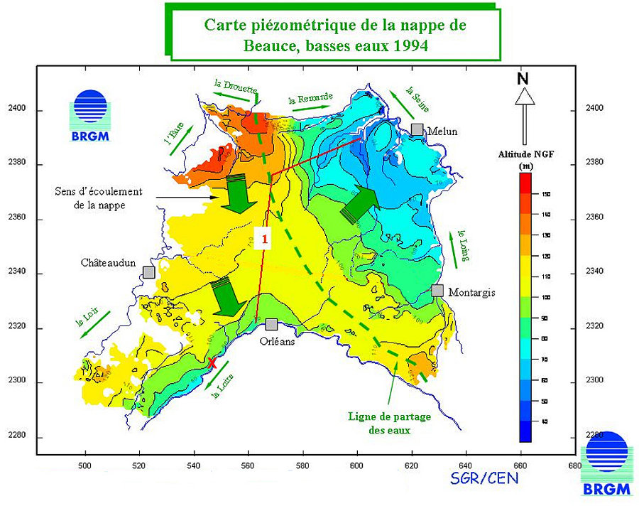 Carte de l'altitude de la surface de la nappe (libre) de Beauce