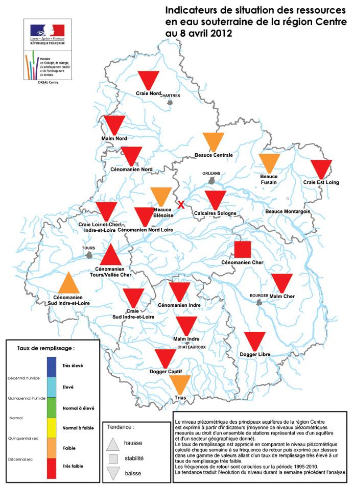 Évolution du remplissage des nappes phréatiques de la région Centre en avril 2012