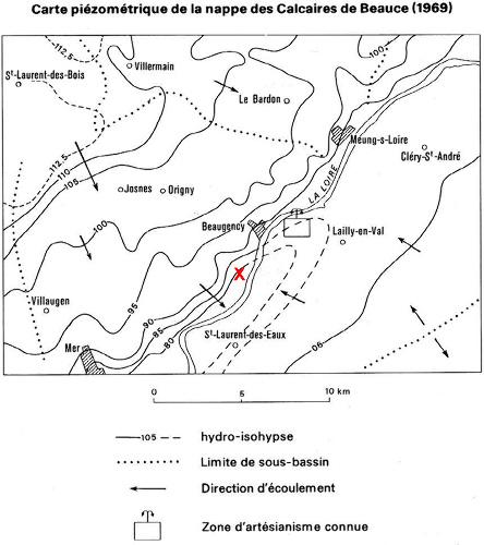 Carte piézométrique de la nappe des Calcaires de Beauce (état en 1969)