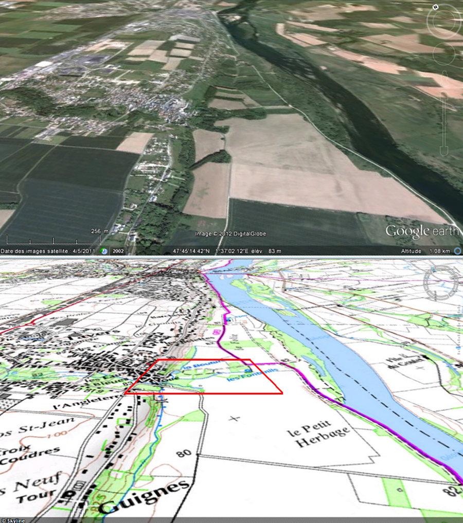 Vue aérienne et carte topographique obliques du secteur de Tavers (Loiret)