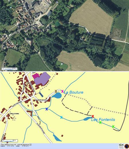 Vue aérienne et carte verticales à l'ESE du village de Tavers et localisation des points de prise de vues