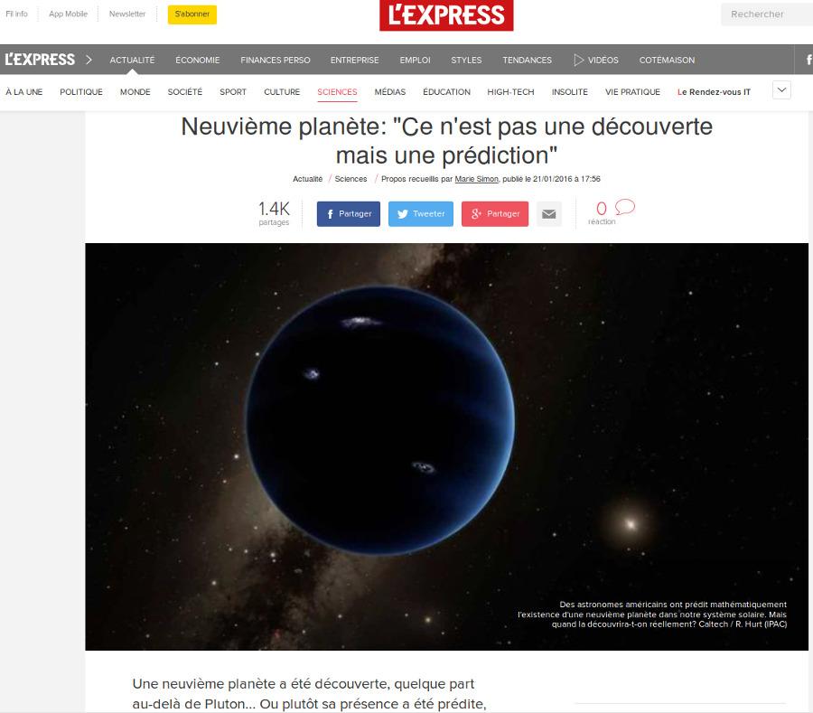 Nouvelle sur le site de l'Express, 21 janvier 2016