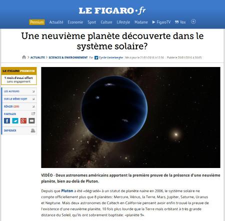 Nouvelle sur le site du Figaro, 20 janvier 2016
