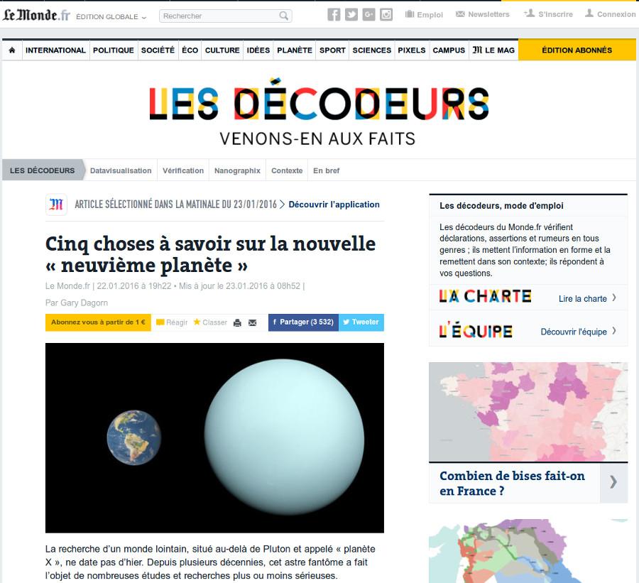 Les Décodeurs sur le site du Monde, 23 janvier 2016