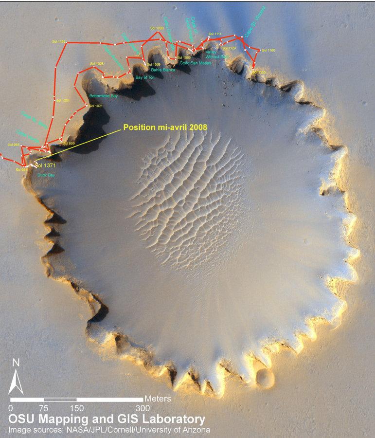 Mars: carte des trajets d'Opportunity autour, puis dans le cratère Victoria durant les 550 derniers sols