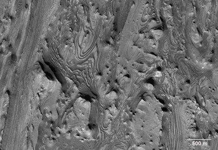 MRO / HIRISE : vue quasi verticale d'un secteur de Candor Chasma