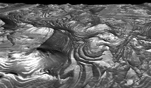 MRO / HIRISE : vue oblique du même secteur de Candor Chasma