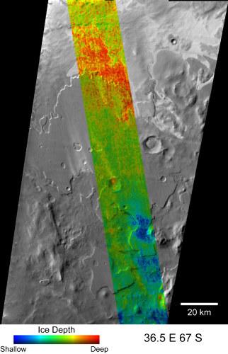 Profondeur de la glace dans le sous-sol superficiel de Mars