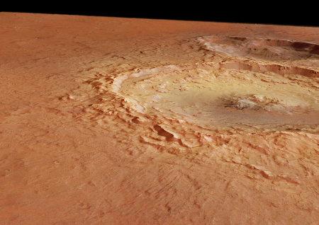 Double cratère dans Tyrrhena Terra, Mars
