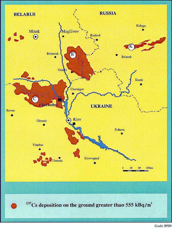 Carte des trois principales zones de contamination résultant de l'accident de Tchernobyl