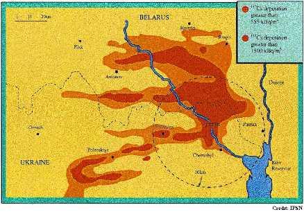 Carte de la zone centrale de contamination du sol au césium 137