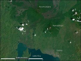 La région du volcan Nyiragongo et du lac Kivu, le 11 décembre 2001