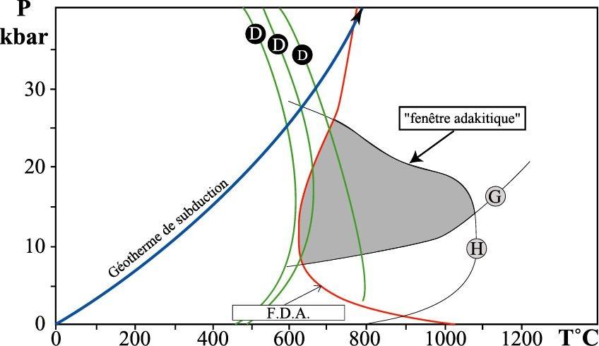 Diagramme P-T, figurant la réaction de fusion-déshydratation de l'amphibole dans un basalte hydraté et les courbes de déshydratation des minéraux hydratés le composant (chlorite, actinote ...).