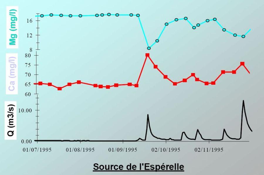 Un exemple d'hydrogramme (variation du débit de sortie Q au cours du temps) et de chimiogrammes (variation de la concentration des différents traceurs chimiques naturels au cours du temps)