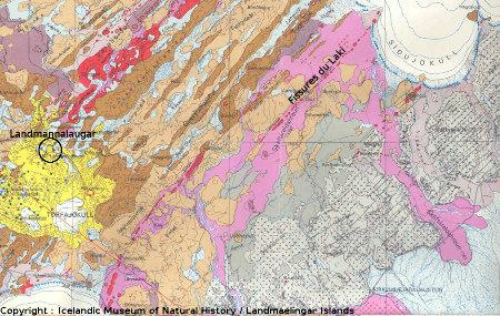 Extrait de la carte géologique d'Islande
