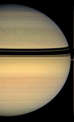 Image de Saturne prise presque du plan équatorial, en avril 2008, alors qu'on se rapprochait encore plus de l'équinoxe