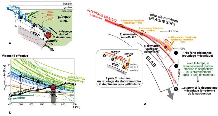 Principe d'écaillage des semelles métamorphiques lors du début de la subduction intra-océanique