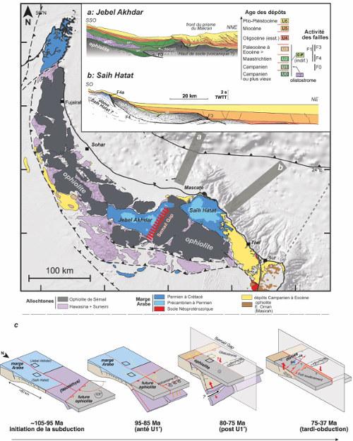 Évolution de la marge omanaise au cours de l'obduction et profils sismisques actuels