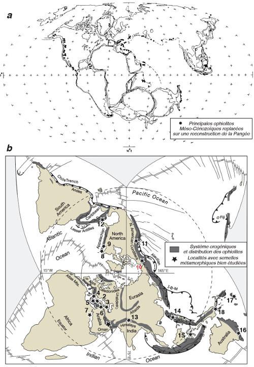 Les principales ophiolites des 250 derniers millions d'années, position dans une reconstitution de la Pangée et dans leur position actuelle