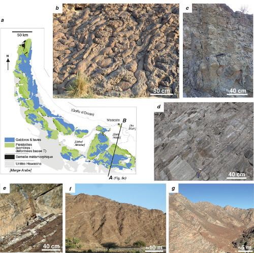 L'ophiolite de Semail (Oman - Émirats Arabes Unis), carte tectonique et affleurements typiques des différentes unités pétrologiques