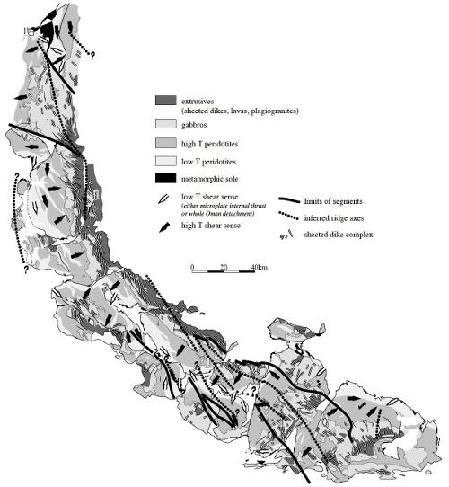 Carte pétro-tectonique de détail de l'ophiolite de Semail